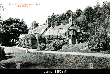 Old Topographical British Picture Postcard of Jenny Lind's house Wynd's Point near Malvern posted 1906  - Stock Image