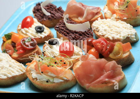 A set of many different small sandwiches - Stock Image