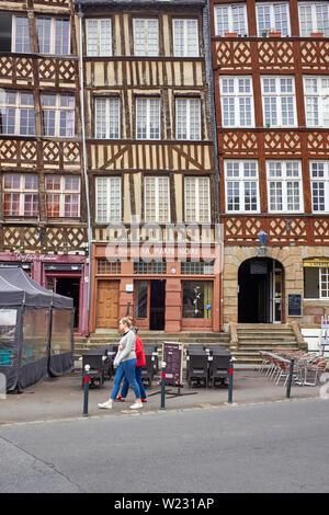 Wooden framed buildings in Rennes old quarter - Stock Image