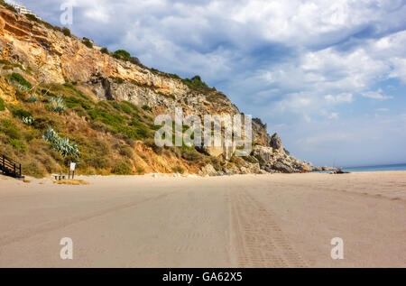 Beach of Sesimbra, Portugal - Stock Image
