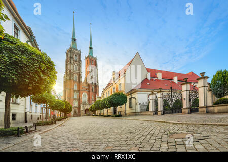 Wroclaw, Poland. Panoramic view of Cathedral of St. John the Baptist on sunrise (HDR image) - Stock Image