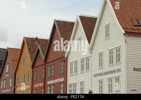 Bergen, Norway - 9 August 2018: Details of the farcade of  Bryggen (The Hanseatic Wharf) in the city of Bergen. The UNESCO World heritage site stems its roots from the Viking Age and it today home to many of the citoes restaurants, pubs, craft shops and museums. The city was for many years the centre of trade between Norway and the rest of Europe and is now usually the starting point to  expeditions into the country. Photo: David Mbiyu Credit: david mbiyu/Alamy Live News - Stock Image