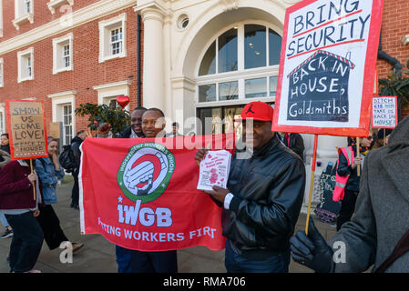 London, UK. 14th February 2019. The IWGB union and students launch their campaign for Goldmsiths, University of London, to directly employ its security officers. Currently they are employed by CIS Security Ltd on low pay and minimal conditions of service, and CIS routinely flouts its legal responsibilities on statutory sick pay and holidays. Credit: Peter Marshall/Alamy Live News - Stock Image