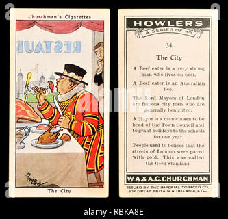 Cigarette card: Churchman's Cigarettes 'Howlers' series (1937) - the City / Beefeater - Stock Image