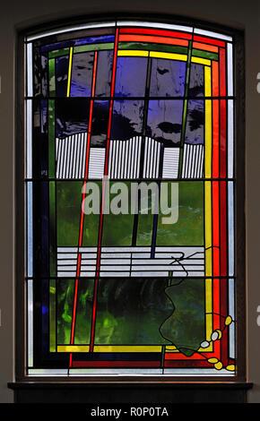 'Epiphany', North aisle window by Brian Clarke. Christ Church, Thornton-le-Fylde, Lancashire, England, United Kingdom, Europe. - Stock Image