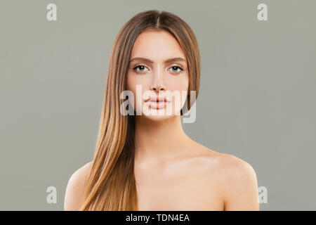 Perfect womanl with clear skin and long hair - Stock Image