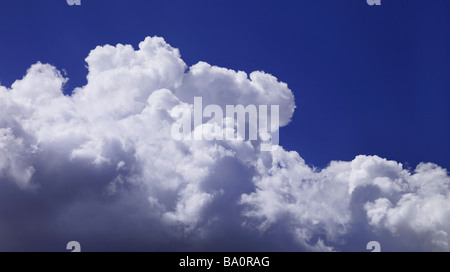 Fuffy white clouds with blue sky - Stock Image