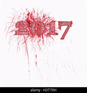 Fireworks illustration celebrating 2017 grunge red and black numbers white background Happy New Year Year's - Stock Image