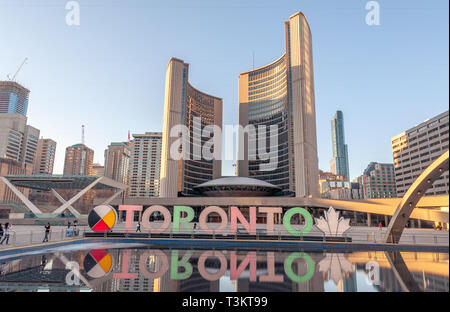 Toronto Skyline in Nathan Phillips Square - Stock Image