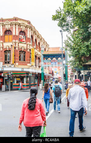 Melbourne, Australia- 21st February 2018: Paifang or gateway to Chinatown. It is the longest continuous settlement in the Western world. - Stock Image
