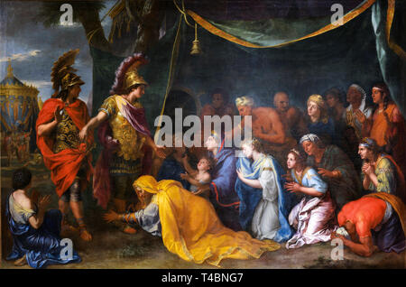 Alexander the Great painting, Charles Le Brun, The Queens of Persia at the feet of Alexander, also called The Tent of Darius, 17th Century - Stock Image