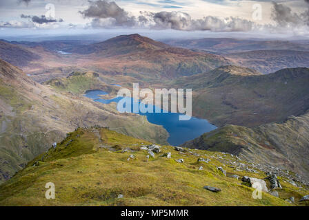 Llyn Llydaw From the summit of Snowdon - Stock Image