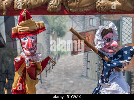 Traditional British seaside puppet show featuring Punch and Judy - Stock Image