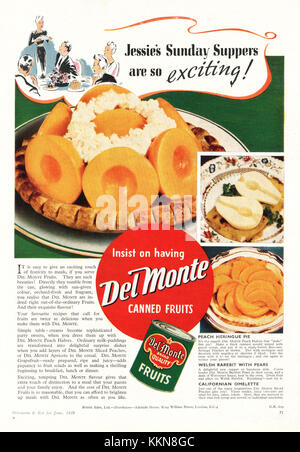 1939 UK Magazine Del Monte Canned Fruit Advert - Stock Image