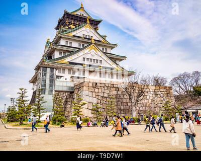 28 March 2019: Osaka, Japan - The main keep of Osaka Castle, Osaka, Japan - Stock Image