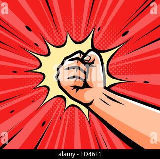 Punch, raised up clenched fist in retro pop art. Comic style vector illustration - Stock Image