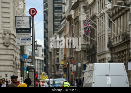 Bus stop in London - Stock Image