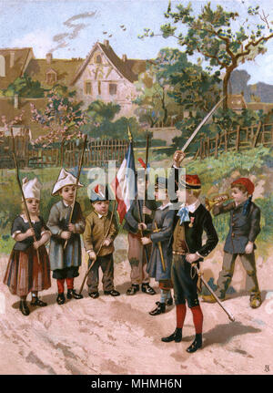A budding Bonaparte invites his troops to salute the tricolore, waving his sword while a bugler blows      Date: circa 1880 - Stock Image