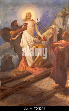 COMO, ITALY - MAY 8, 2015: The painting  Jesus is stripped of His clothes cross in church Santuario del Santissimo Crocifisso - Stock Image