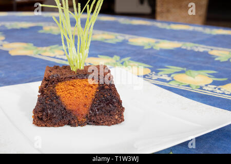 Detail of Easter chocolate cake with form of carrot as if it were in the ground. - Stock Image