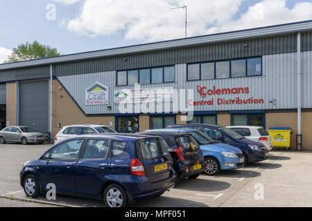Colemans Craft Warehouse and, to the right, their central distribution depot, Rushden, Northamptonshire, UK; a local retailer of craft materials. - Stock Image