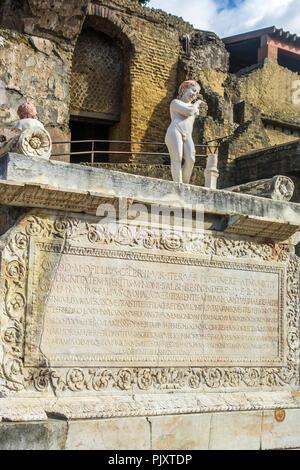Memorial Plaque To Marcus Balbus Herculaneum Italy - Stock Image