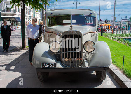 Historical vehicle, Sisu 322 bus from the year 1933 restored to its appearance while serving the Helsinki Jazz band 'Dallape'. - Stock Image