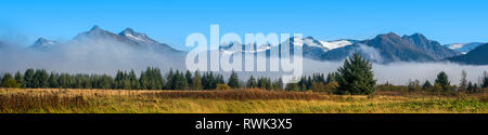 Panorama scenic of Mendenhall Glacier and Mendenhall Towers in autumn, Southeast Alaska; Alaska, United States of America - Stock Image