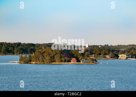 Rodd Island located in Iron Cove, near where the Parramatta River meets Sydney Harbour. The Island is part of the Sydney Harbour National Park - Stock Image