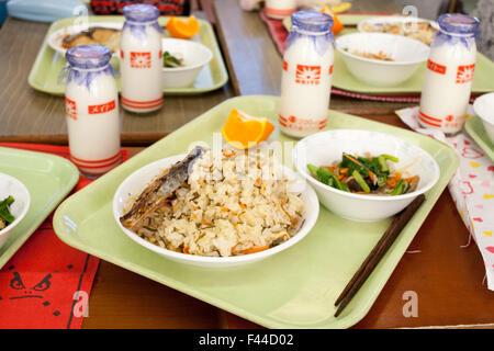 Kyushoku school lunch Japanese - Stock Image