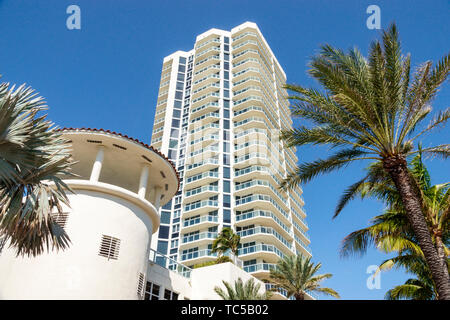 Miami Beach Florida North Beach Ocean Terrace St. Saint Tropez Ocean Front Condominium balconies high rise building - Stock Image