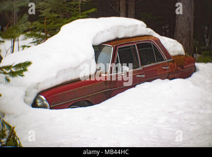 A red 1973 Mercedes-Benz 280SE, burried in the snow, in a wooded area, in Noxon, Montana.  This image was shot with an antique Petzval lens and will s - Stock Image