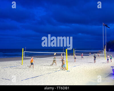 Playing Beach Volleyball On The Beach At Surfers Paradise - Stock Image