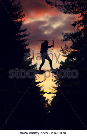 high ropes evening - Stock Image