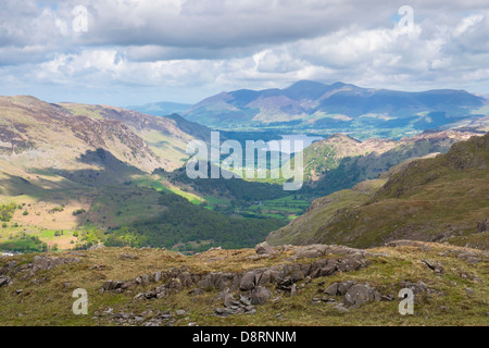 Looking out towards Borrowdale Valley, Summit of Skiddaw and Derwent Water from Glaramara In the Lake District. - Stock Image