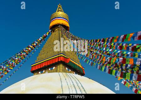 Boudhanath Stupa with Buddha eyes, Kathmandu, Nepal - Stock Image