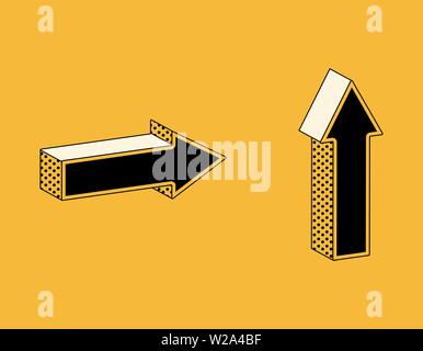 Isometric icons of arrows in retro style, direction symbols on yellow background. - Stock Image