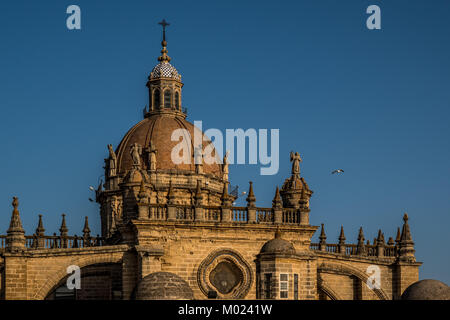 JEREZ DE LA FRONTERA, ANDALUSIA / SPAIN - OCTOBER 11 2017: CATHEDRAL OF JEREZ - Stock Image