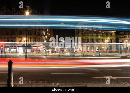 Light Trails at Trafalgar Square - Stock Image