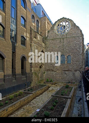 remains of the 12th Century Great Hall of Winchester Palace in London near The Thames - Stock Image