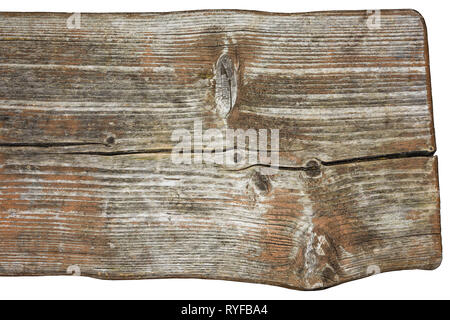 Bench detail. Old weathered wood. Patina. Decorative vintage plank with cracks, knots and grained wooden texture. Close-up of uneven brown faded board. - Stock Image