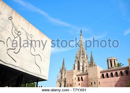 Carver de Bisbe , Gothic Quarter in Barcelona in Catalunya in Spain in Europe - Stock Image