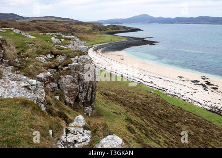 Coral Beach at Claigan on Loch Dunvegan on Isle of Skye, Highland Region, Scotland, UK - Stock Image