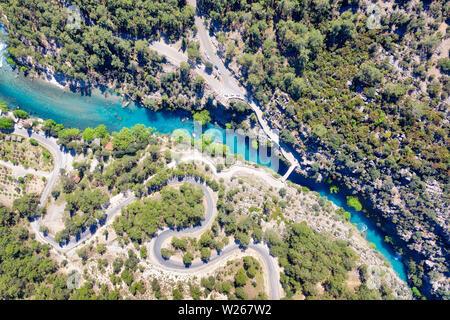 Tazi Canyon Blue River taken in April 2019rn' taken in hdr - Stock Image