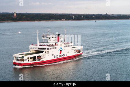 Red Funnel ferry entering Southampton, UK. - Stock Image