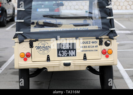 Nice, France - May 21, 2019: Vintage Beige Citroen Mehari (Rear View) French Car Parked In A Parking Lot In Nice On The French Riviera - Stock Image