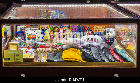 Tourist souvenirs in a display case,Długi Targ, Long Market, Gdańsk, Poland - Stock Image