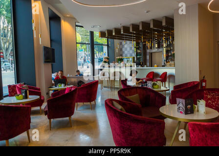 Marseille, FRANCE, inside Cafe, Hall, Luxury Hotel in Town Center, NH Collection, café scene - Stock Image