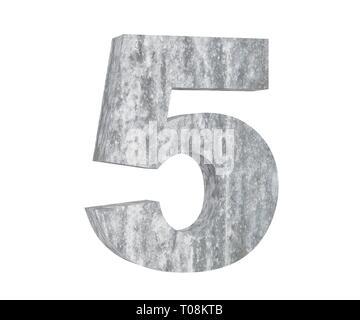 3D rendering concrete number 5 five. 3D render Illustration. - Stock Image