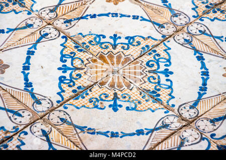 Detail of the painted ceramic floor, Villa Rufolo, Rvavello - Stock Image